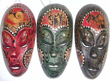Decorative mask, handmade carvings, home fashion decor, indonesian masks, painted art images, african illustrations