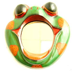 Wooden frog decor, home furnishing, primitive sculptures, wall mirrors, folk art vanity, handicraft, quality carving