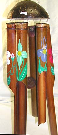 Home designs, coconut windchimes, floral decor, indonesian wind chime, handicraft paintings, native designs