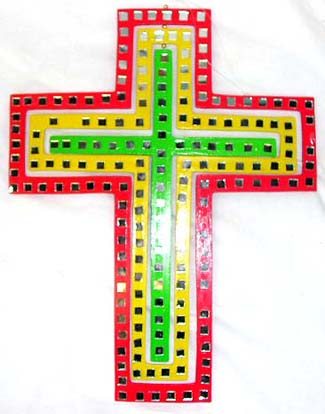 Religious decor, cross designed mobile, wind art, colorful bali gifts, whirlybirds, batik collectibles