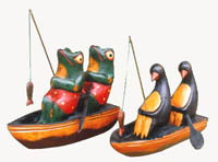 Fishing design statues, animal lover gifts, costume crafted table top decor, fun wooden designs, carved sculptures