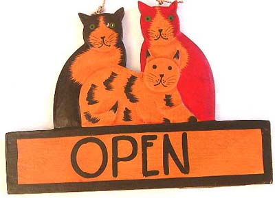 Indonesian artisan sign, animal designed door hanging, cat lovers decorations, wooden carvings, home gifts