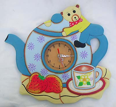 "Coffee Cup Wall Clock, Carved Wood  Pewter, 16"": Amazon.com: Home"