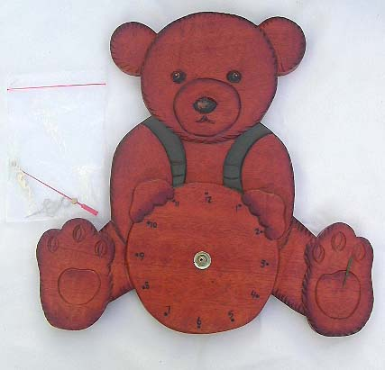 Teddy bear designed crafts, kids clocks, handcrafted bali time piece, childrens wooden artisan clocks, home decor