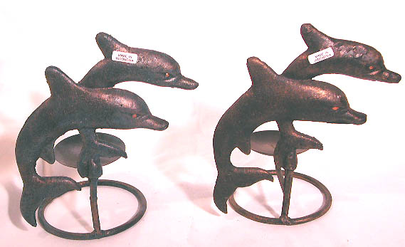 Dolphin designed decor, home furnishing, iron candle holder, votive candles, handmade gifts, handicrafts, unique figurines