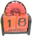 Collectible art, artisan carved calendar, wooden designs, event planner, carvings, exotic calendars